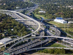 The Interstate 10 and Interstate 45 stack interchange northwest of Downtown Houston.