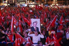 After coup nightly demonstration of president Erdoğan supporters, Istanbul