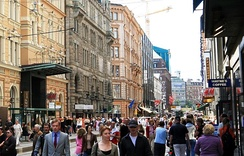 Aleksanterinkatu is the main shopping street in Helsinki for tourists and locals alike