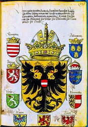 Page from an armorial showing the arms of Emperor Frederick III, ca 1415-1493.