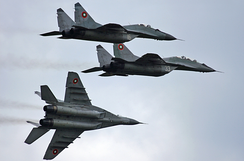 "A squadron of Bulgarian Air Force MiG-29 ""Fulcrum-A"""