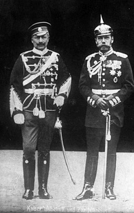 Cousins Kaiser Wilhelm II of Germany with Nicholas II of Russia in 1905, each in the military uniform of the other nation.