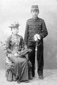 Javanese nobles adopted and mixed some aspects of European fashion, as this couple circa 1890.