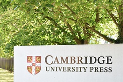 Cambridge University Press sign at the Cambridge HQ