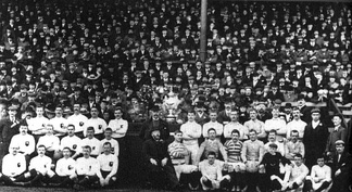 Photo taken in 1897, St Helens vs Batley (left) in the first Challenge Cup Final