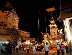 The funeral pyre of Chan Kusalo (the Buddhist high monk of Northern Thailand) at Wat Chedi Luang, Chiang Mai, Thailand