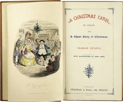 "Left-hand page shows Mr and Mrs Fezziwig dancing; the right-hand page shows the words ""A Christmas Carol. In Prose. Being a Ghost Story of Christmas by Charles Dickens. With illustrations by John Leech"