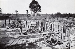 Confederate sappers constructed a number of artillery emplacements covering the avenues of approach to Atlanta. The artillery in this fortification overlooks Peachtree Street.