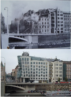 Comparison of Dancing House site in 1945 and 2010