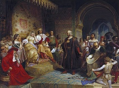 Christopher Columbus meets Isabella I of Castile and Ferdinand II of Aragon in the Alcázar of Córdoba