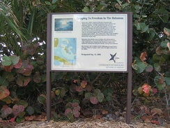 Sign at Bill Baggs Cape Florida State Park commemorating hundreds of African-American slaves who escaped to freedom in the early 1820s in The Bahamas