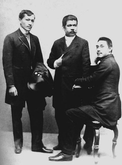From left to right, José Rizal, Marcelo H. del Pilar and Mariano Ponce.