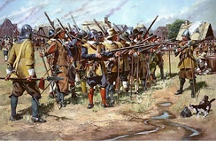 First Muster, Spring 1637, Massachusetts Bay Colony. Artist's re-creation of the first muster of the East Regiment (present-day Massachusetts Army National Guard) in Salem, Massachusetts Bay