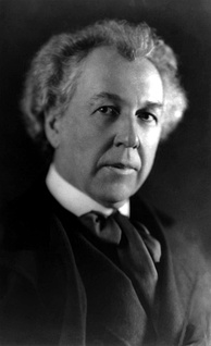 A portrait photograph of a middle-aged man with bushy white hair, wearing a dark suit