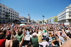 Puerta del Sol square in Madrid, shown here on 20 May 2011, became a focal point and a symbol during the protests.