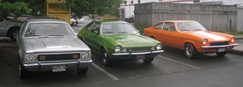 First-generation American sub compacts, left to right: AMC Gremlin, Ford Pinto, Chevrolet Vega