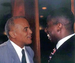 Belafonte (left) with activist and opera star Stacey Robinson in 1988.
