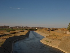 The Irtysh–Karamay Canal near its beginning at the Project 635 Reservoir