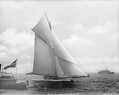 Volunteer wins the America's Cup in 1887 with cotton sails