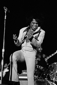 James Brown was critical in the transition of rhythm and blues to soul music and pioneering funk music.[86]