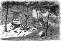 A Roma smith and his forge in Wallachia, Dieudonné Lancelot [fr], 1860
