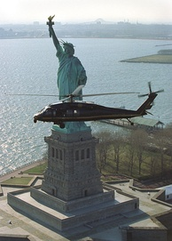 A U.S. Immigration and Customs Enforcement helicopter patrols the airspace over New York City
