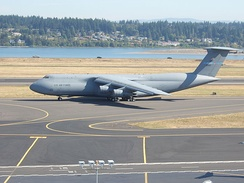 137th Airlift Squadron C-5A taxiing for takeoff at Portland International Airport.