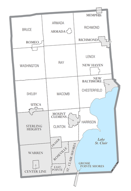 U.S. Census data map showing local municipal boundaries within Macomb County.  Shaded areas represent incorporated cities.
