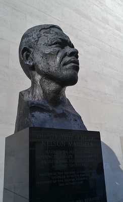 Bust of Mandela erected on London's South Bank by the Greater London Council administration of Ken Livingstone in 1985