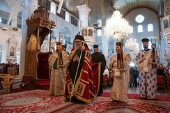 Patriarch John the Tenth leading mass at the Mariamite Cathedral of Damascus