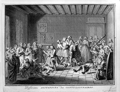 Members of the Jansenist sect having convulsions and spasms as a result of religious fanaticism. Engraving by Bernard Picart
