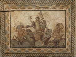 Epiphany of Dionysus mosaic, from the Villa of Dionysus (2nd century AD) in Dion, Greece, Archeological Museum of Dion