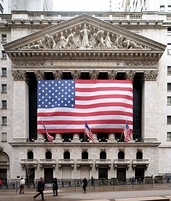 The New York Stock Exchange, the world's largest stock exchange by total market capitalization of its listed companies.[159]