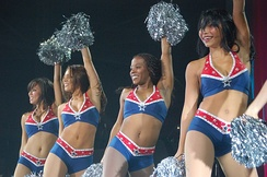 The team's cheerleading squad performing a routine in 2007