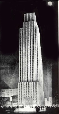Daily News Building, John Mead Howells and Raymond Hood, architects, rendering by Hugh Ferriss. The building housed the paper until the mid-1990s.