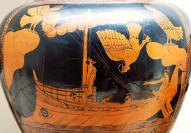 Odysseus and the Sirens, eponymous vase of the Siren Painter, c. 480-470 BC (British Museum)