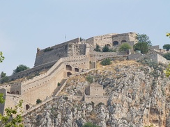 The Venetian fort of Palamidi in Nafplion, Greece, one of many forts that secured Venetian trade routes in the Eastern Mediterranean.