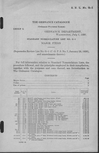 The front cover of the G1 1930 Catalog. A table of contents and the start of the catalog table are visible.