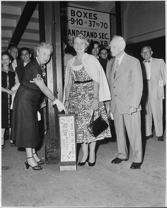 Bess and Margaret Truman submitting their ballots for the 1953 Major League Baseball All-Star Game rosters