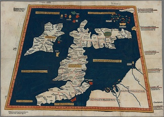 Prima Europe tabula. A 15th century copy of Ptolemy's map of Britain and Ireland.
