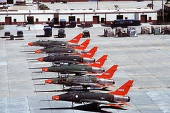 QF-100 Super Sabre target drones on the Tyndall AFB flight line[4]
