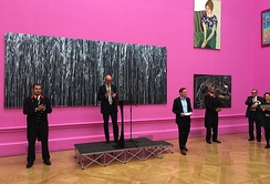 "Christopher Le Brun, president of the RA, on ""Varnishing Day"", or the artists' opening of the Summer Exhibition, 2015"