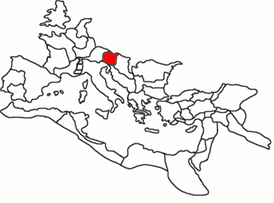 The province of Noricum highlighted within the Roman Empire.