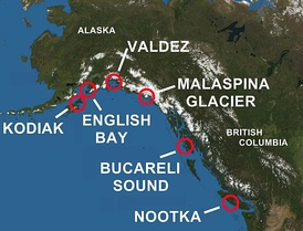 Areas of Alaska and British Columbia Explored by Spain