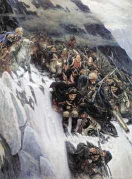 Russian troops under Generalissimo Suvorov crossing the Alps in 1799 by Vasily Surikov