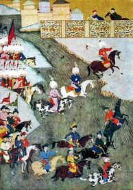 A Persian style miniature depicting the Ottoman campaign in Hungary in 1566, Crimean Tatars as vanguard.