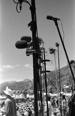 A forest of microphone stands at a taper section at Telluride Bluegrass Festival in June 2007.