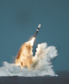 Trident II SLBM launched by ballistic missile submarine.