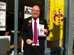 A UKIP candidate campaigning in Newport high street on the Isle of Wight, 2012