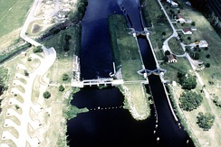Ortona Lock and Dam, on the Caloosahatchee River, part of the Okeechobee Waterway, in Glades County, Florida, a part of the Army Corps of Engineers project to control water flow in the Everglades.